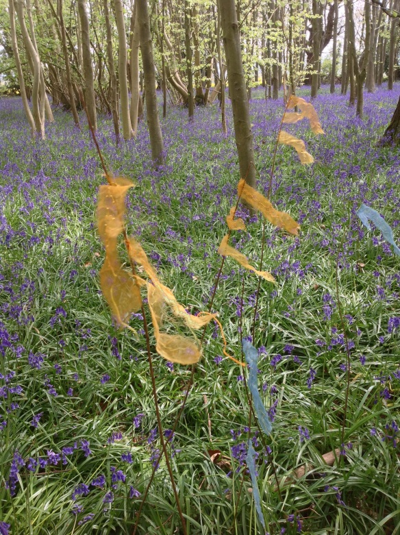 susi bancroft prayer flag in bluebell wood